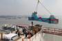 沪通长江大桥开启正桥钢桁梁安装